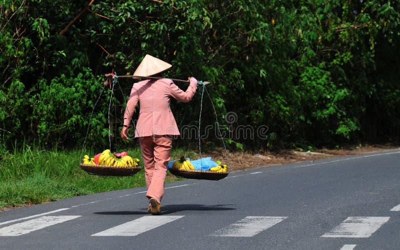 Una mujer que vende las frutas en el camino rural en Vinhlong, Vietnam imágenes de archivo libres de regalías