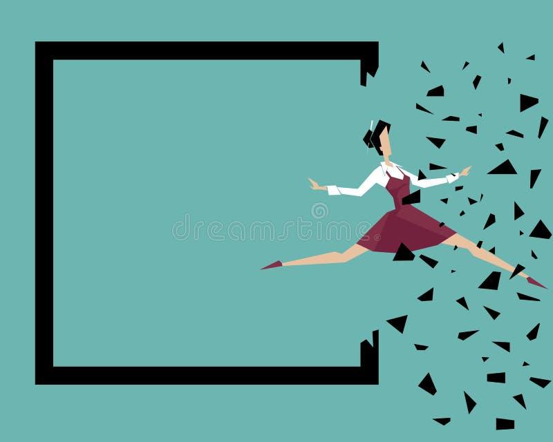 Una mujer salta más allá de sus propios límites: Fractura de las fronteras imagen de archivo