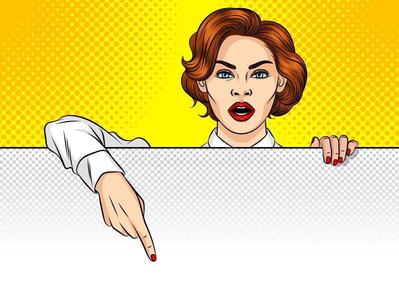 Una mujer señala su finger al tablero ilustración del vector