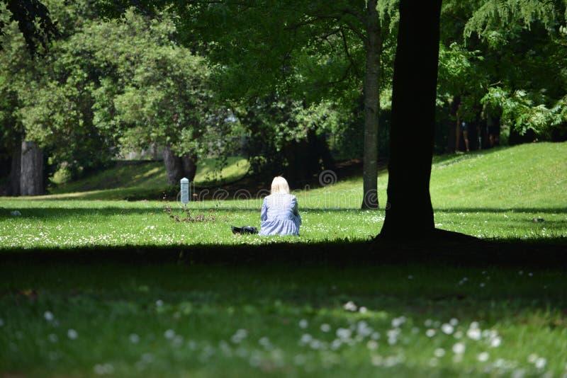 Una mujer sola en un día soleado brillante y hermoso en Sophia Gardens Cardiff fotos de archivo libres de regalías