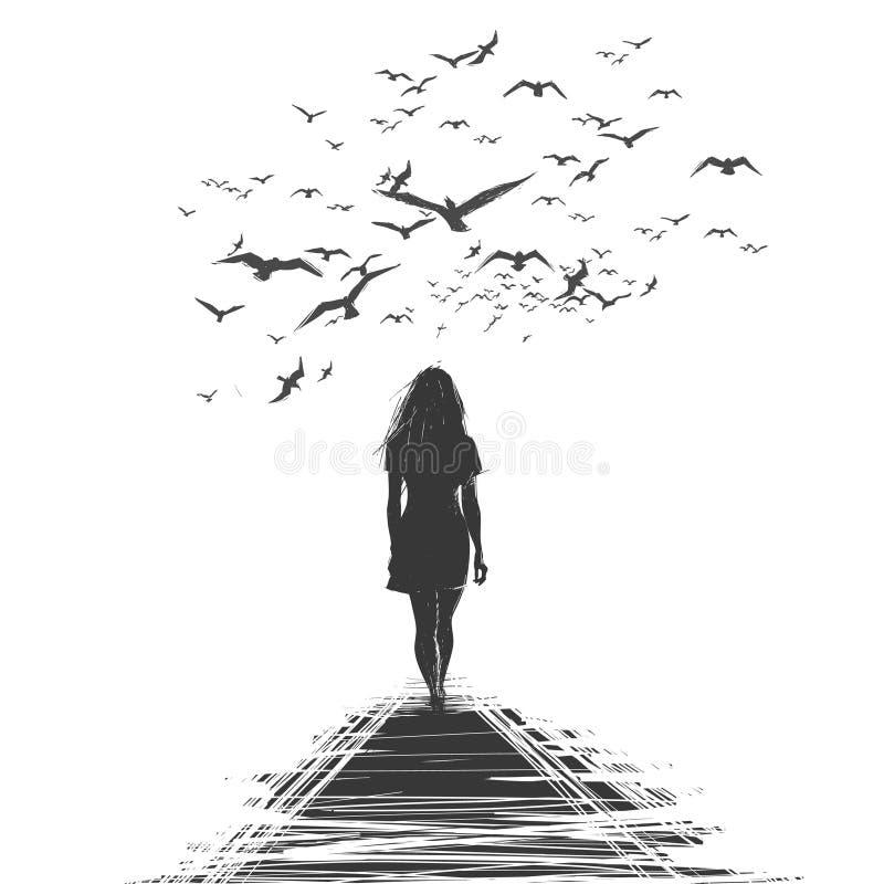 Una mujer solitaria se va stock de ilustración