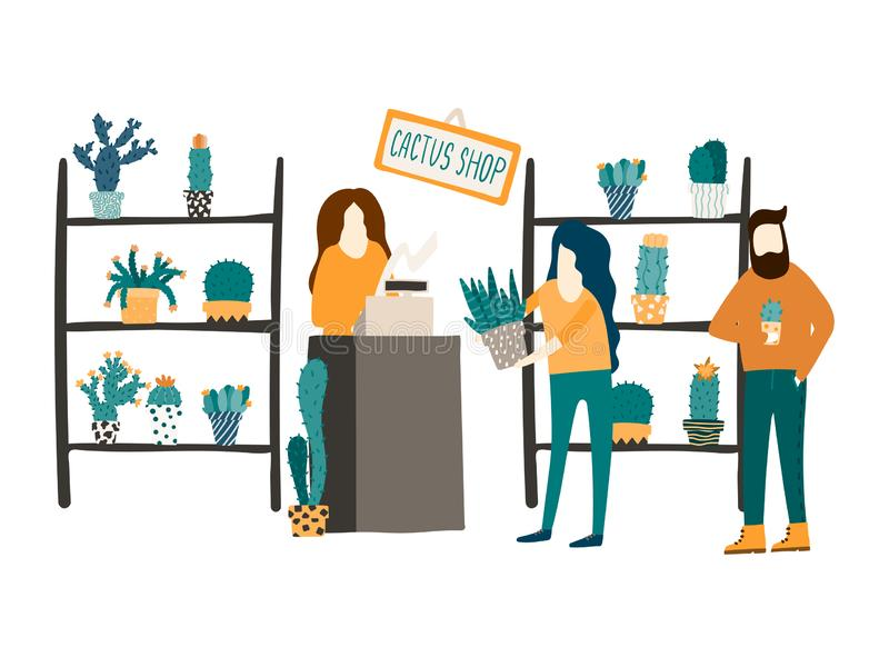 Una mujer vende los cactus y los succulents en una floristería Ejemplo plano del estilo Cliente y un concepto del ayudante de tie stock de ilustración