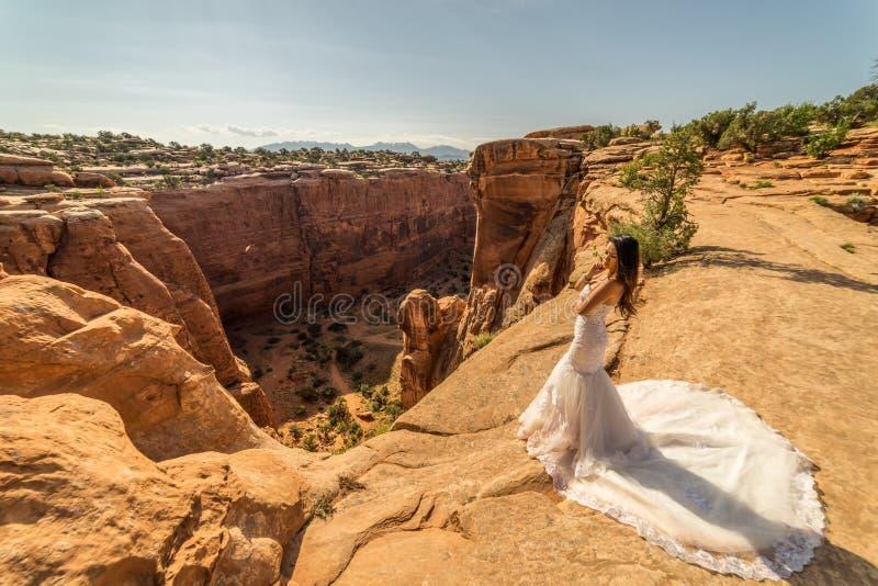Una mujer vietnamita en su vestido de boda presenta en el desierto estéril de Moab, Utah fotografía de archivo