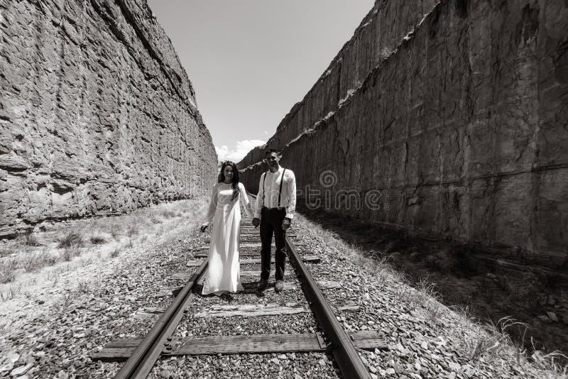 Una mujer vietnamita en un vestido de boda del traditionall presenta con su novio en el desierto estéril de Moab, Utah fotografía de archivo libre de regalías