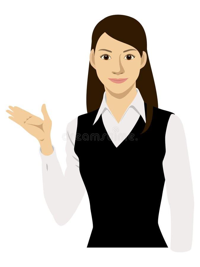 Una mujer y una dirección ilustración del vector