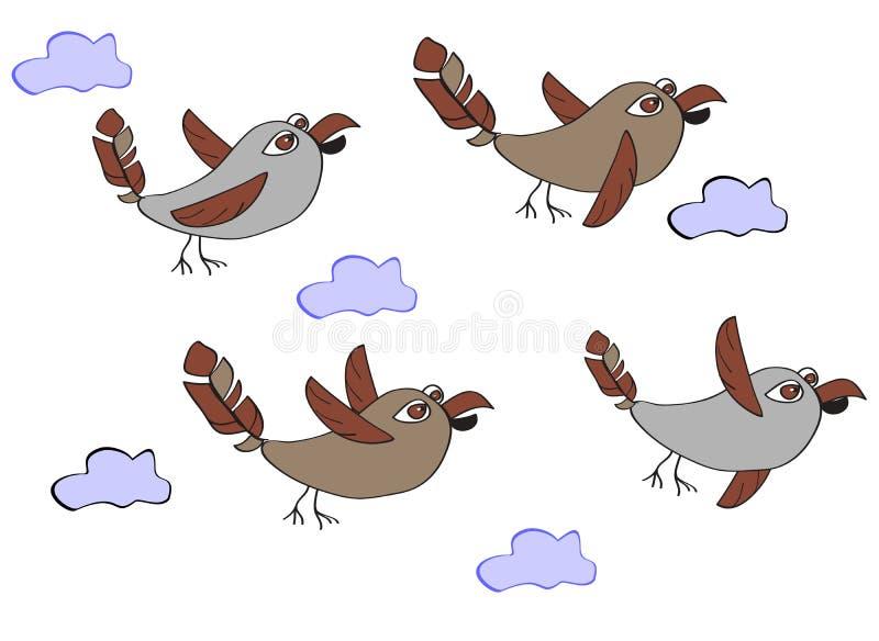 Una multitud de los pájaros divertidos - gorriones que vuelan en las nubes C simple ilustración del vector