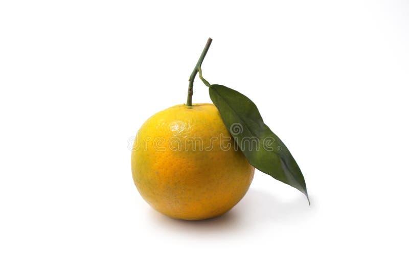 Una naranja fresca con una hoja fotos de archivo libres de regalías