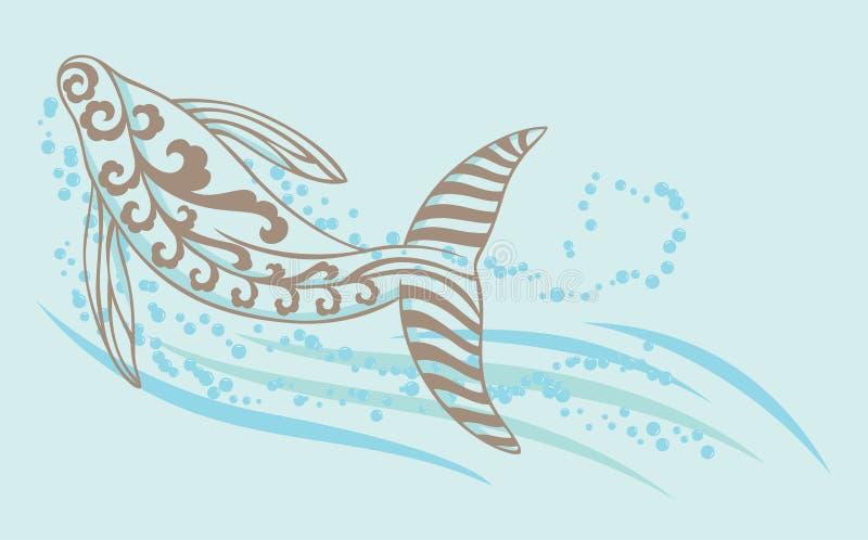 Una natación de la ballena bajo el mar stock de ilustración