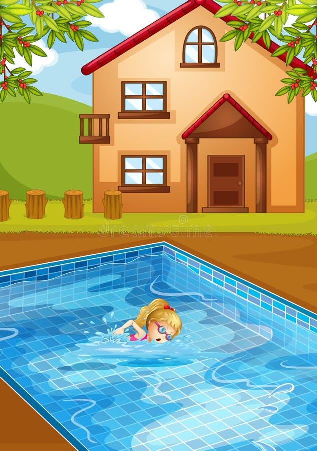 Una natación de la muchacha en la piscina ilustración del vector
