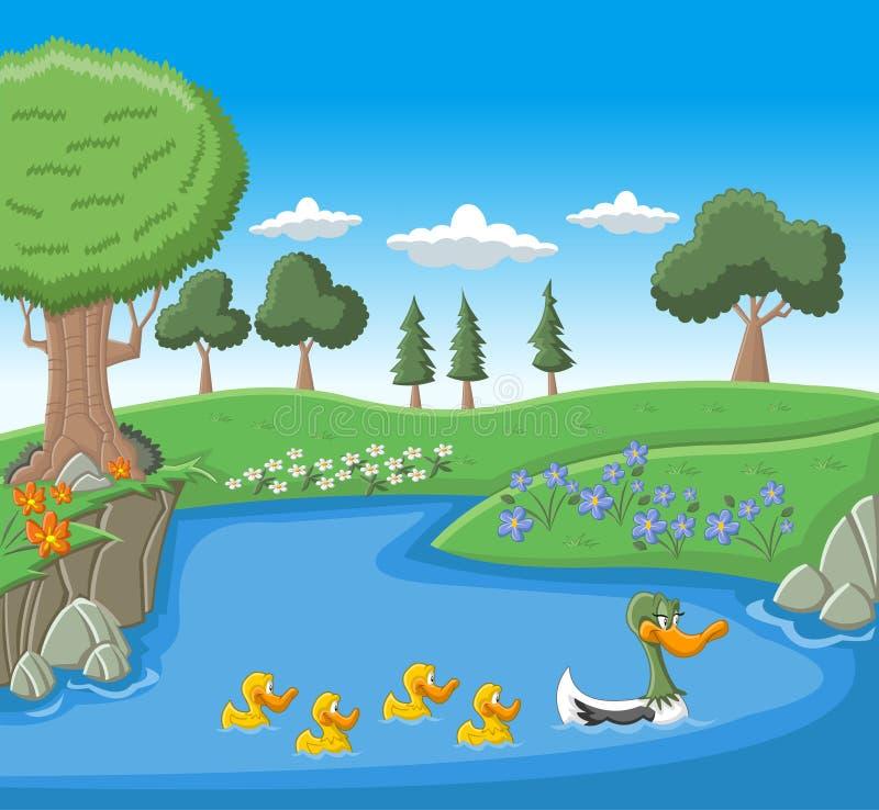 Una natación del pato de la madre con sus anadones ilustración del vector