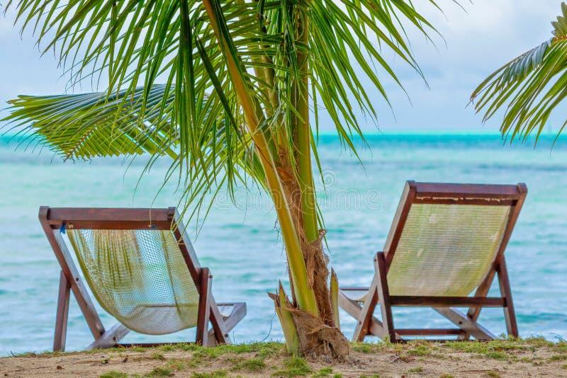 Una natura morta di due sedie del sole sulla spiaggia dell'isola della carpa fotografia stock libera da diritti