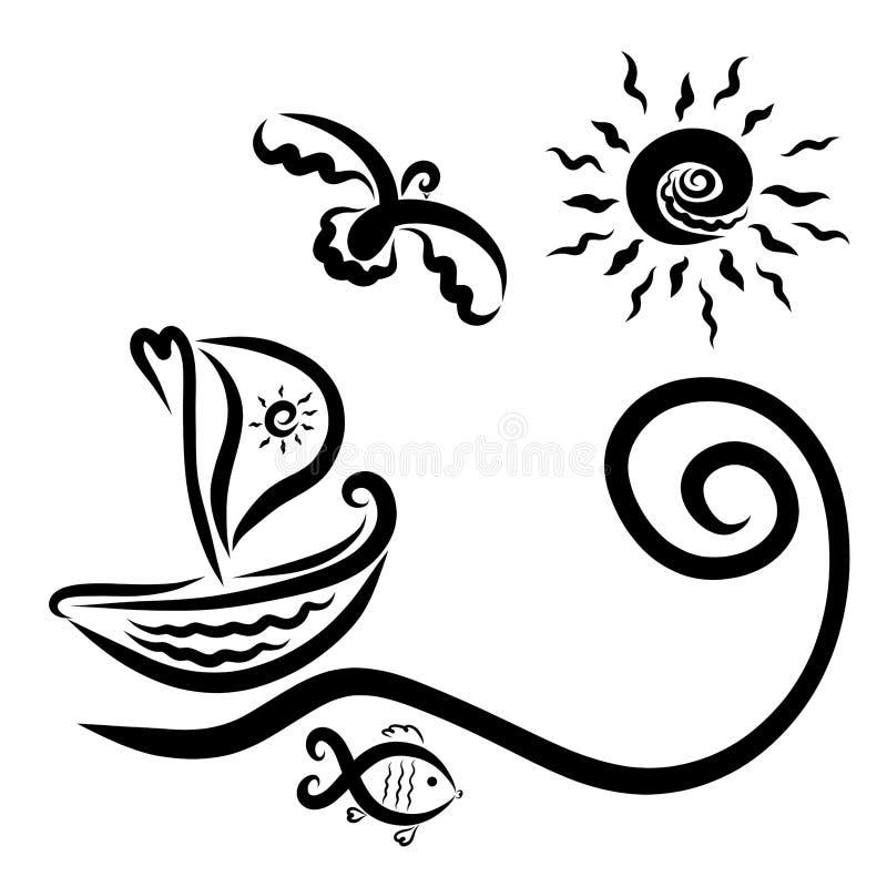 Una nave con un sole di navigazione che galleggia sulle onde, un uccello, un pesce illustrazione di stock