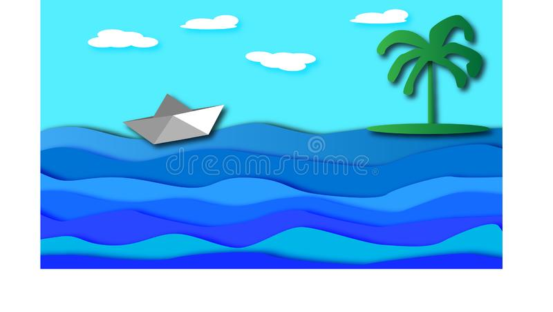 Una nave de papel flota a lo largo del mar al lado de una isla de palma libre illustration