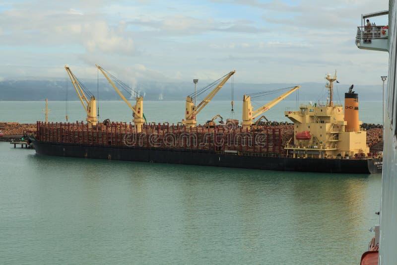 Una nave del carguero de graneles que toma en un cargo grande de registros imagen de archivo
