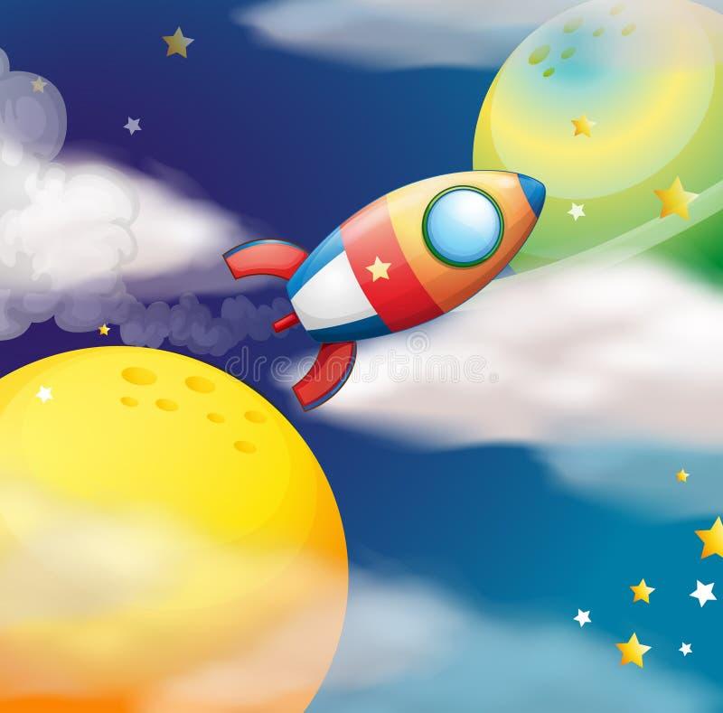 Una nave espacial del vuelo ilustración del vector