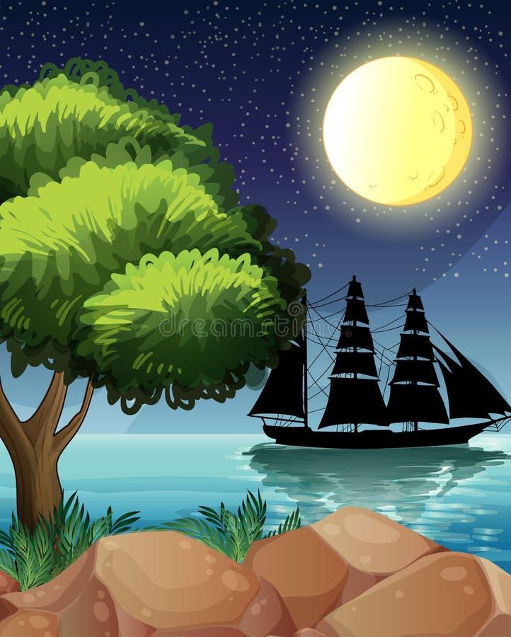 Una nave nera al mare sotto la luna luminosa illustrazione di stock