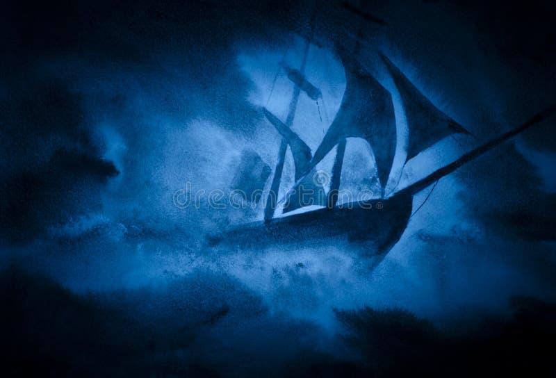 Una nave in una tempesta illustrazione di stock