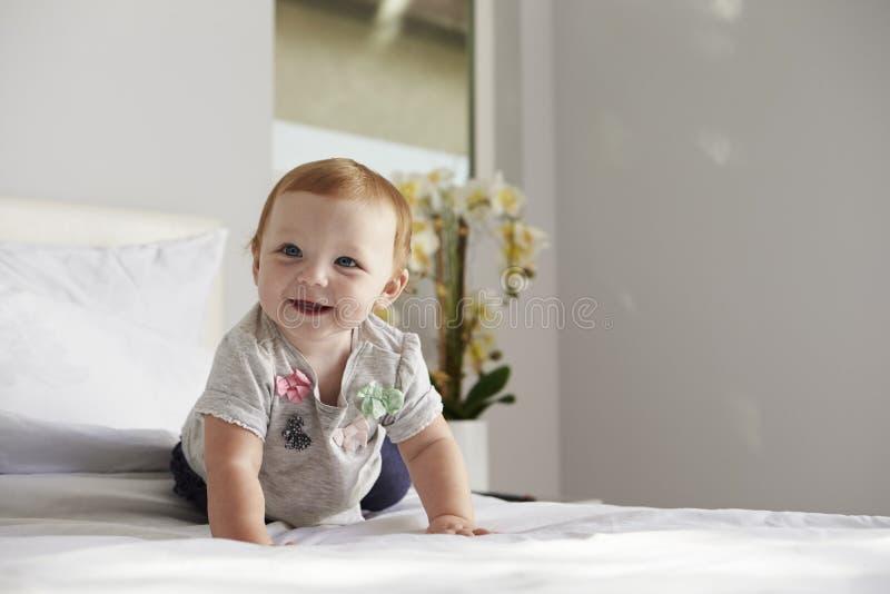 Una neonata felice che striscia su un letto, spazio della copia sulla destra immagine stock libera da diritti