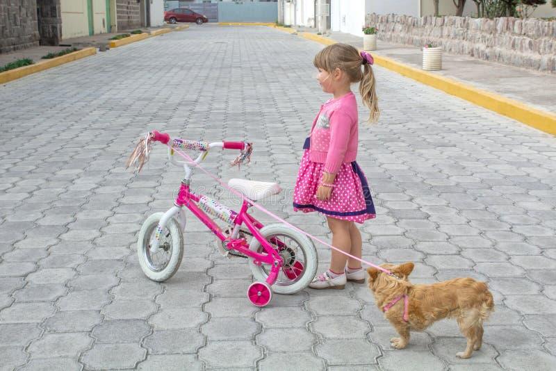 Una niña con una bicicleta y un perro camina en la calle debajo del cielo abierto fotos de archivo