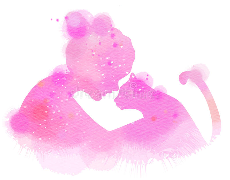 Una niña con un gato que se mira siluetear más el ab stock de ilustración