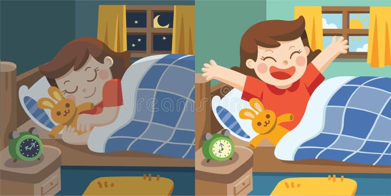 Una niña duerme en la noche y tener sueños dulces ilustración del vector