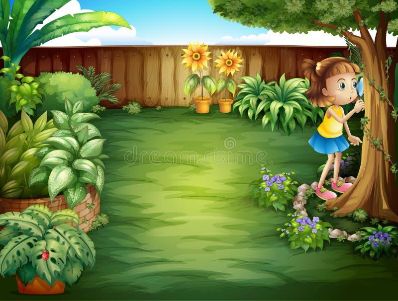 Una niña que estudia las plantas en el jardín stock de ilustración