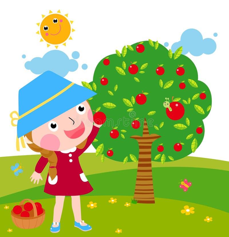 Una niña recoge manzanas en día soleado libre illustration