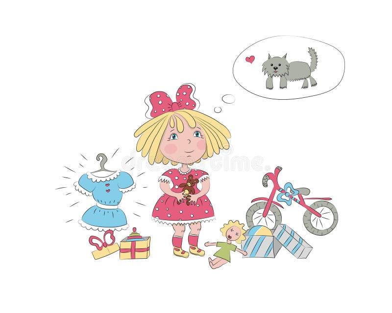 Una niña rodeada por los juguetes sueña sobre el perro foto de archivo libre de regalías