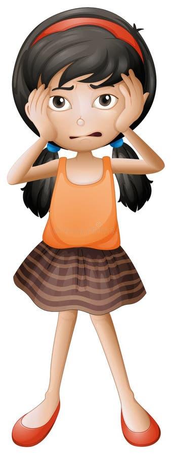 Una niña subrayada stock de ilustración