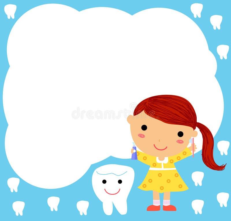 Una niña y un diente ilustración del vector