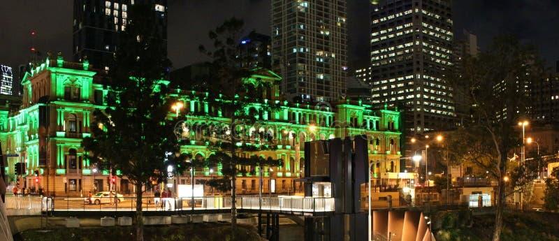 Una noche hermosa de diciembre en Brisbane, Australia fotografía de archivo libre de regalías