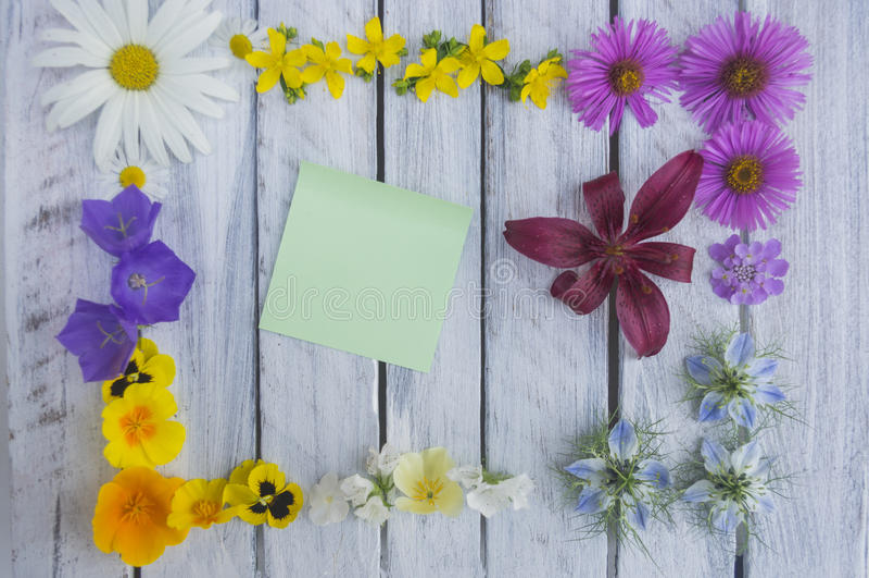 Una nota sobre una superficie de madera enmarcada por las flores 4 foto de archivo