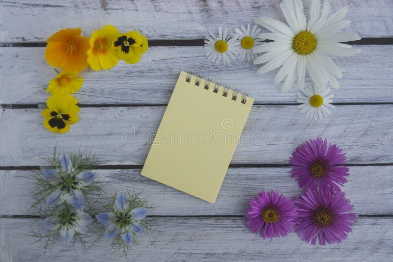 Una nota sobre una superficie de madera enmarcada por las flores 3 del verano imagen de archivo libre de regalías