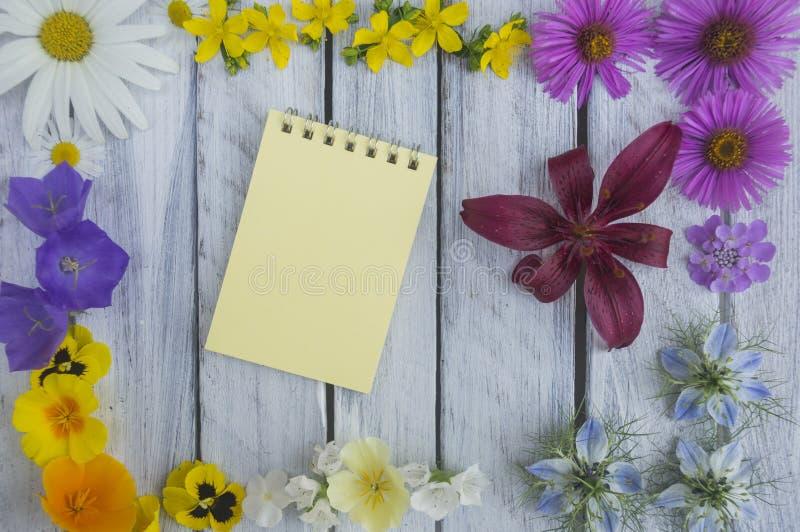 Una nota sobre una superficie de madera enmarcada por las flores 5 del verano foto de archivo libre de regalías