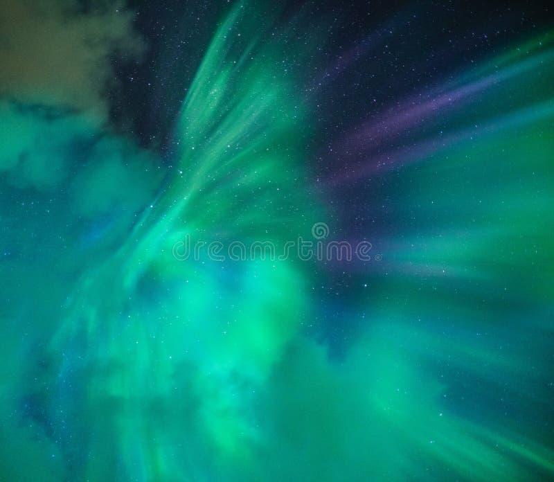 Una notte meravigliosa con l'aurora borealis dell'aurora boreale della KP 5 direttamente sopra con le piccole nuvole L'Islanda No immagine stock