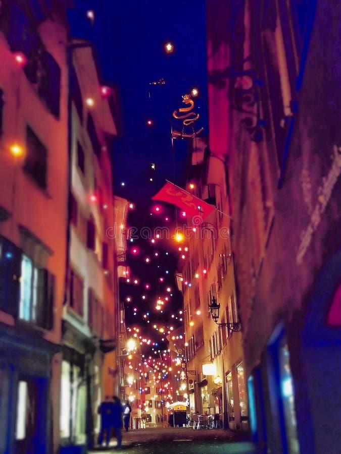 una notte in Svizzera fotografie stock