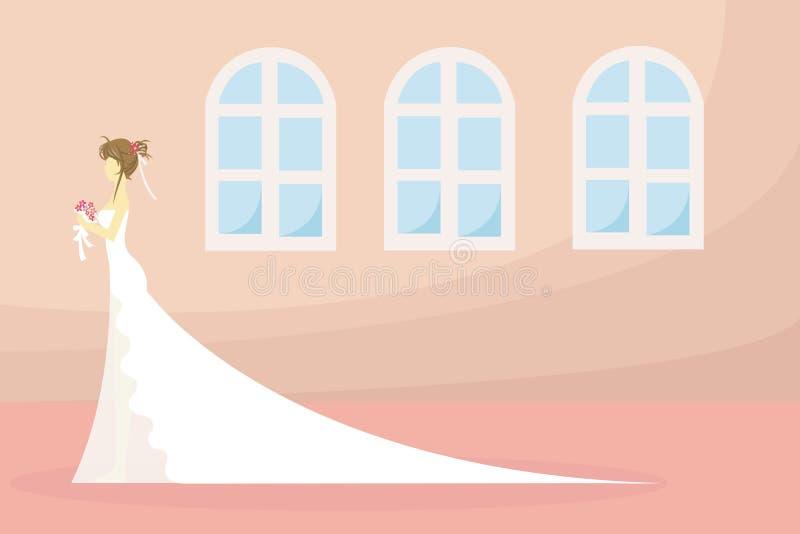 Una novia está esperando? o está esperando el día stock de ilustración