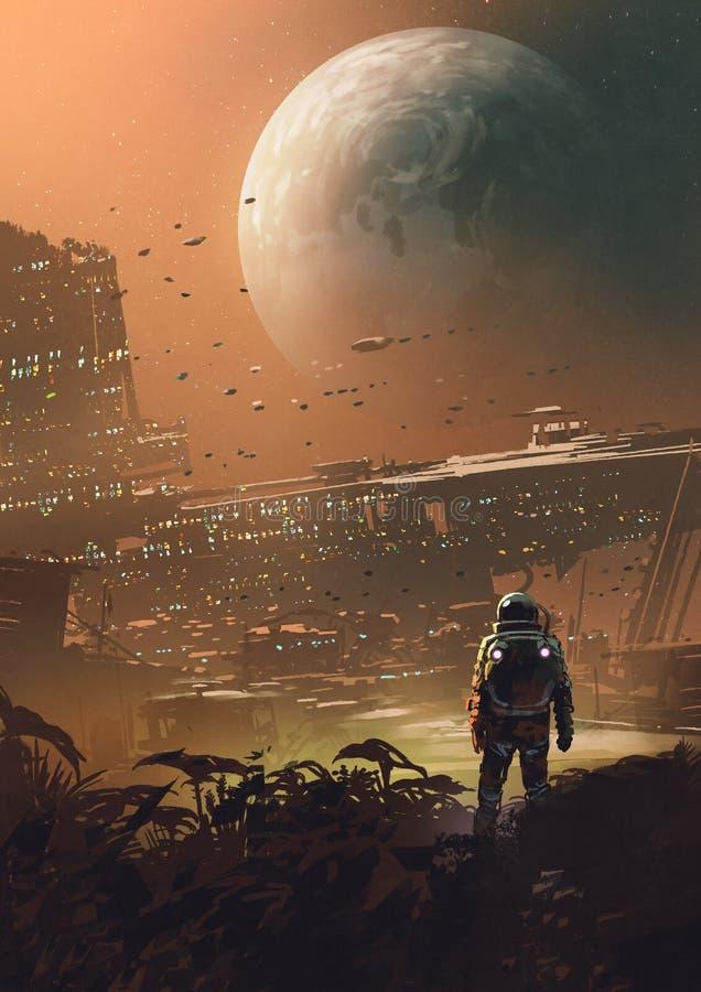 Una nueva colonia en la luna ilustración del vector