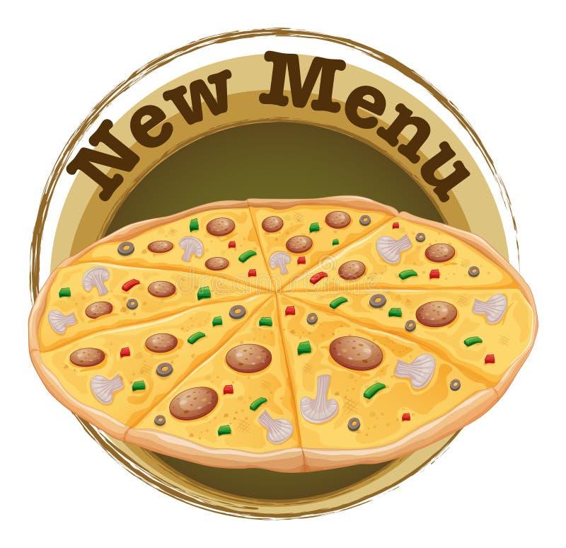Una nueva etiqueta del menú con una pizza ilustración del vector