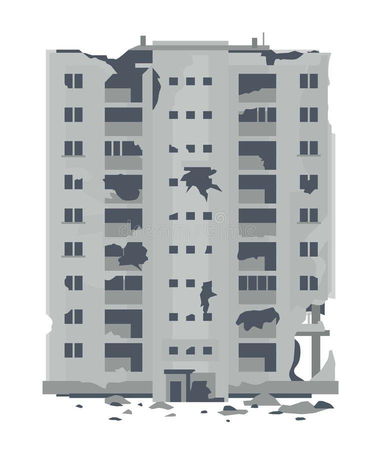 Una nueve-historia desrtoyed del este - edificio europeo ilustración del vector