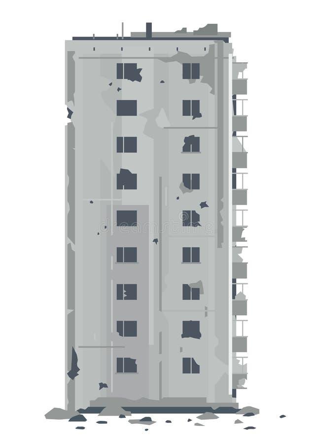 Una nueve-historia desrtoyed del este - edificio europeo libre illustration