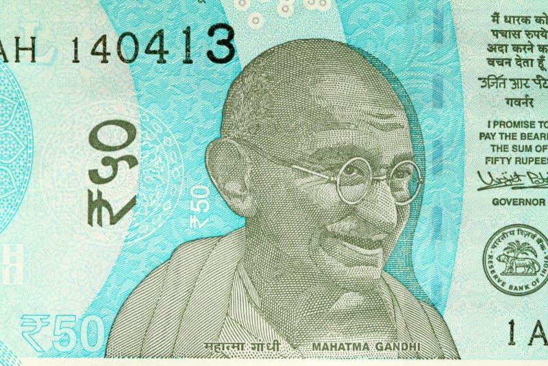 Una nuova banconota dell'India con una denominazione di 50 rupie indiano immagine stock