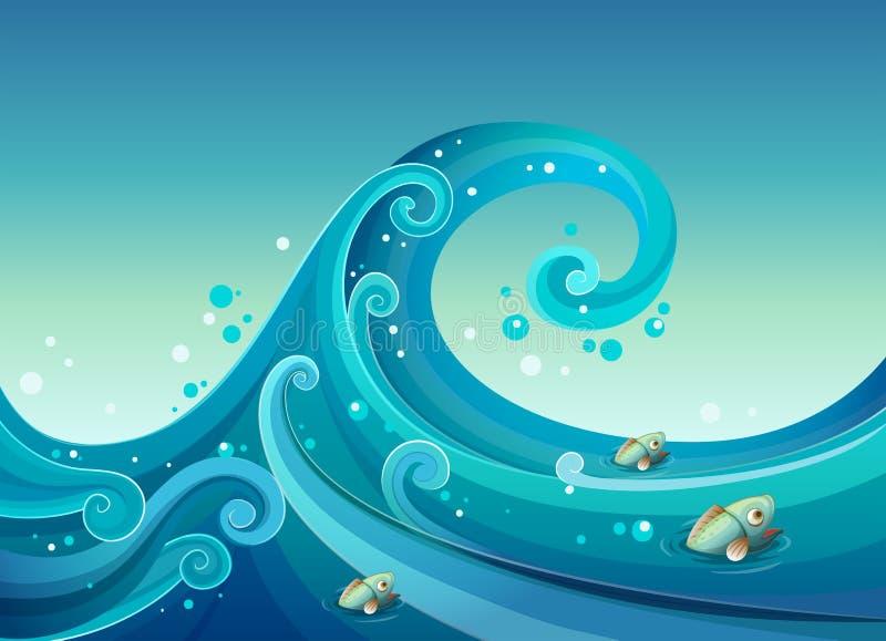 Una onda grande en el mar con los pescados libre illustration