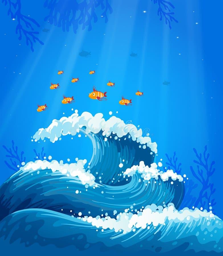 Una onda y pescados debajo del mar ilustración del vector
