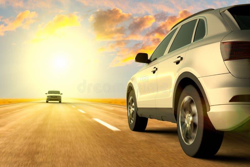 Una opinión de ángulo bajo de coches en el movimiento en el camino foto de archivo