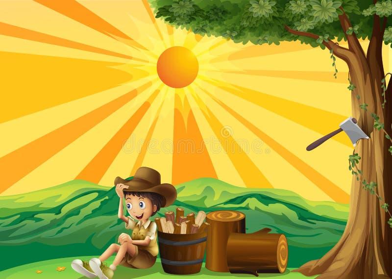 Una opinión de la puesta del sol con un boy scout ilustración del vector