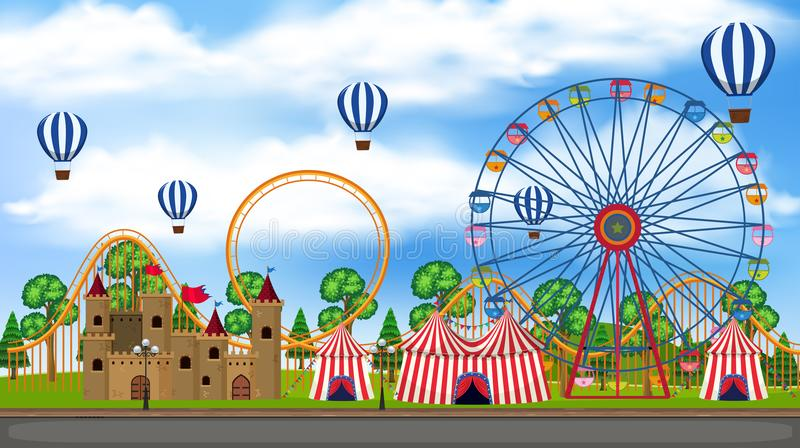 Una opinión del panorama del parque temático stock de ilustración