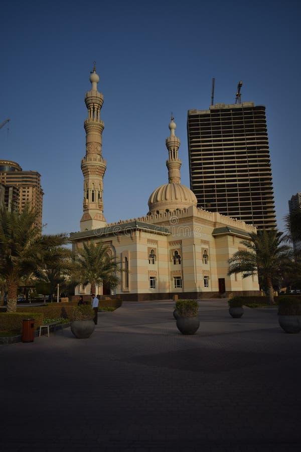 Una opinión hermosa de la tarde de la mezquita, United Arab Emirates foto de archivo