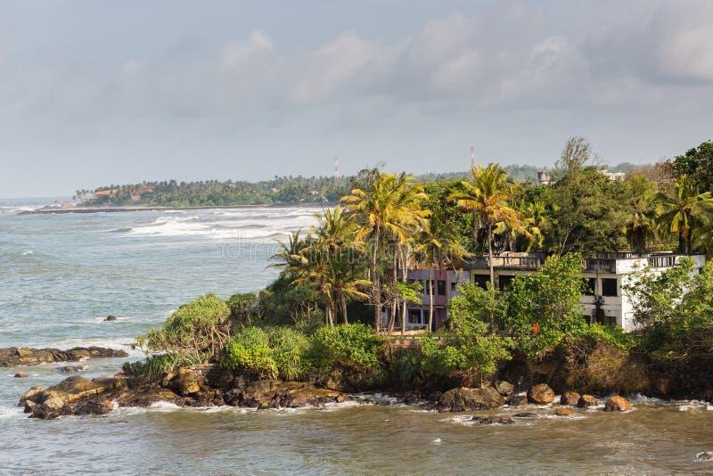 Una opinión sobre la línea de la playa de Galle, Sri Lanka imagen de archivo libre de regalías