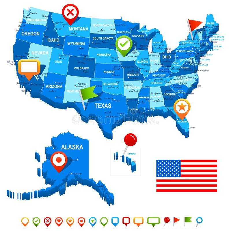 Una os estados (EUA) 3D, a bandeira e os ícones da navegação - ilustração ilustração do vetor